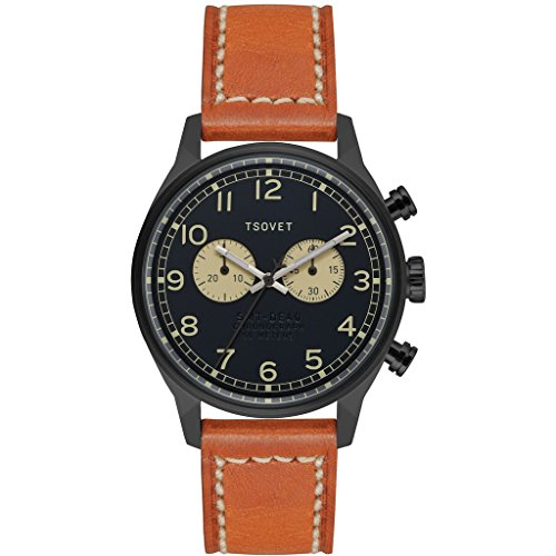 Tsovet-SVT-DE40-Analog-Quartz-BlackBlack-w-BeigeTan-Watch