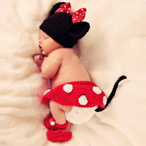 Towall 1 Set Vivid Lovely Hat+Skirt+Shoes Crochet Knit Photo Prop Costume For Girl Infant Baby (Baby Costumes Girl)
