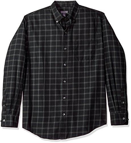 Van Heusen Men's Wrinkle Free Twill Long Sleeve Button Down Shirt, Black Check, (Wrinkle Free Mens Shorts)