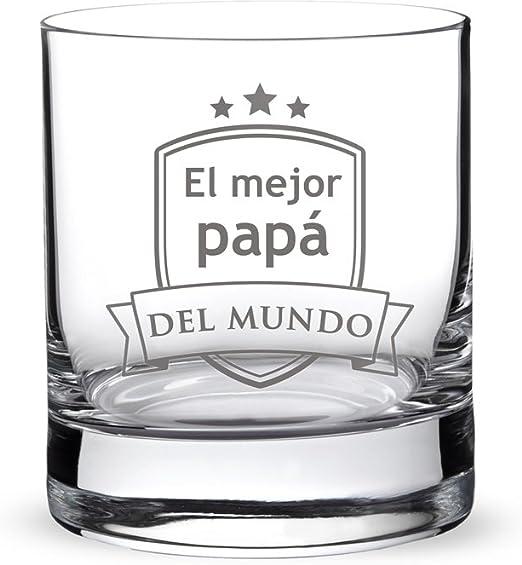 """AMAVEL – Vaso de Whisky con Grabado – """"El Mejor papá del Mundo"""" – con Estampado de Escudo – Obsequios para Hombres – Detalles para Él – Día del Padre ..."""