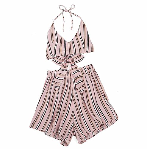 Casual Two-Piece Tank top with Crop top and Striped Bow with Short Suit Pink -