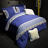 HIGOGOGO 5pcs Polyester Boys Girls Duvet Cover Set(1 Duvet Cover+1 Flat Sheet+1 Fitted sheet+2 Pillow Shams) Lightweight Polyester Microfiber Embroidery Lace Designed Twin Full Queen Size(Queen)