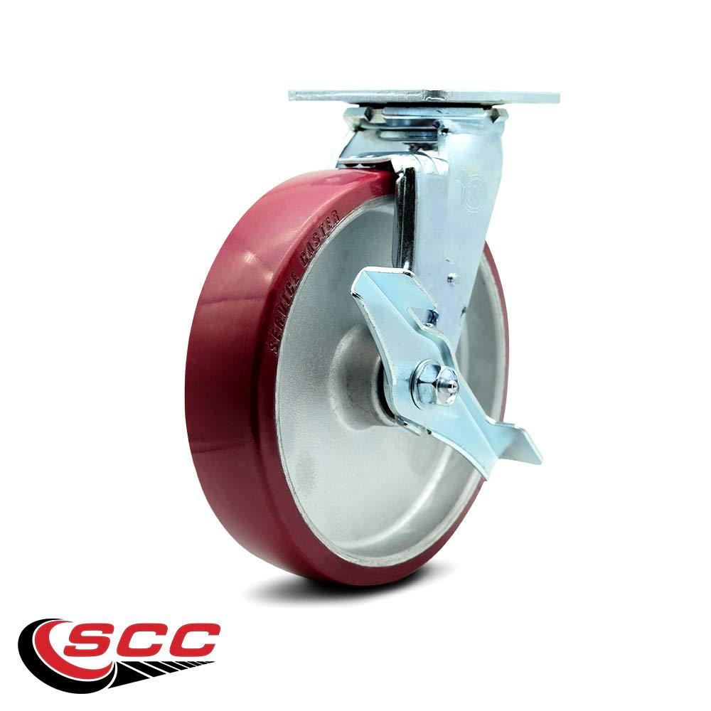 Service Caster - 8'' x 2'' Polyurethane on Aluminum Wheel Swivel Caster w/Brake - 1,250lbs/Caster