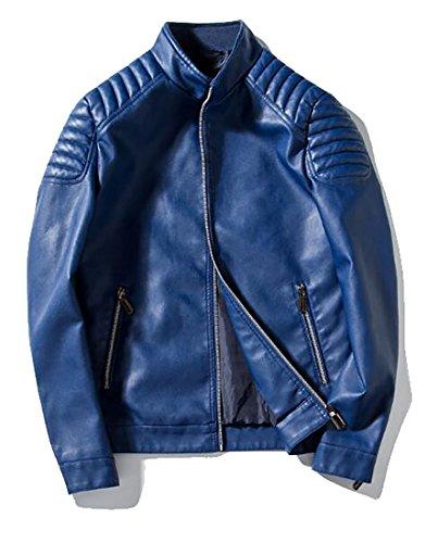 WANSHIYISHE-Men Smooth Lamb Faux Leather Motorcycle Bomber Full Zip Jacket Blue US XL
