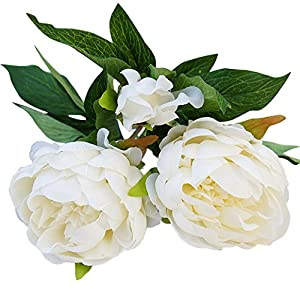 Shengyuze 1Pc 3 Heads Artificial Pink Peony Fake Flower Home Room Wedding Party Garden Decor 108