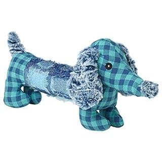 "PetRageous Dachsrageous Dachshund Plaid Dog Toy, 14"", Blue"