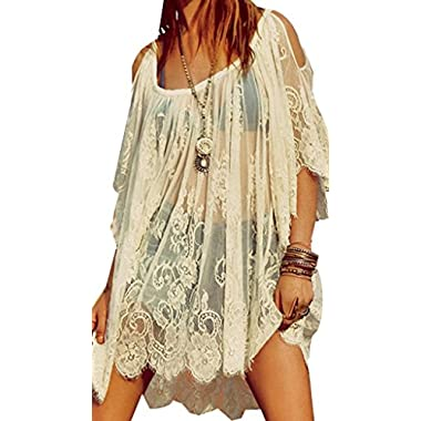 Hippie Boho People Embroidery Floral Lace Crochet Mini Party DressTops