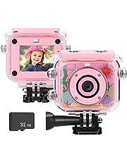 BlumWay mini digitale camera voor kinderen van 3 tot 13 jaar, HD oplaadbare kindercamera met 32G SD-kaart, waterdichte actiecamera voor buiten, speelgoed en cadeaus voor kinderen (roze)