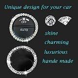 Earthland 2Pcs Crystal Rhinestone Ring for Car