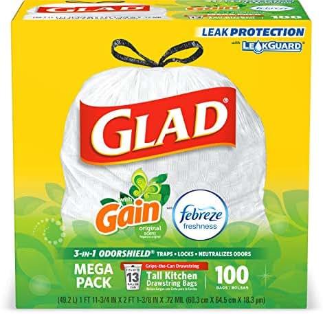 Glad Tall Kitchen Drawstring Trash Bags - OdorShield 13 Gallon White Trash Bag, Gain Original with Febreze Freshness - 100 Count