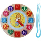 Homyl Wooden Digital Geometry Clock Kids Educational Toy for Boy & Girl - Lion