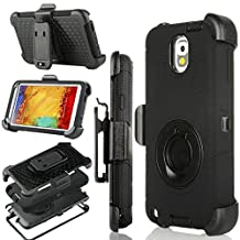 Galaxy Note 3 Case, Note 3 Case, Jwest Shockproof Hybrid Rugged Samsung Galaxy Note 3 Case Rubber Three Layer Holster Cover Case for Samsung Galaxy Note 3 with Built-in Rotating Stand and Belt Swivel Clip Black