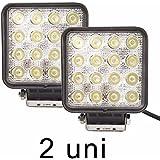 Farol de Milha IP67 - 16 LEDs 48W 3000 Lumens Quadrado (PAR)