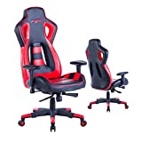 Top Gamer PC Racing Gaming Chair Computer Video Game Chairs (Red/Black,6)