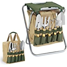 Picnic Time Gardener 5-Piece Garden Tool Set With Tote And Folding Seat