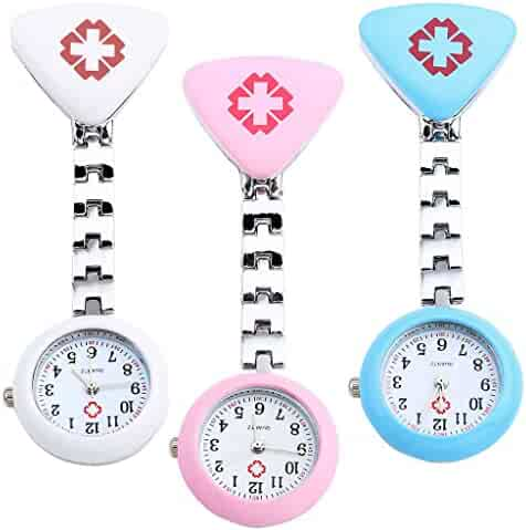 Top Plaza Pack of 3 Womens Girls Red Cross Nurse Fob Clip On Brooch Hanging Pocket Watches