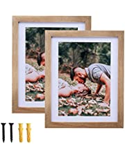 WONFUlity Rustic Picture Frames, Multi-Display Wall&Tabletop Shatterproof HD Front Photo Frame with Mat, A Grade Pine Wood Wall Gallery Frames, Black/White/Brown/Gray, Set of 2