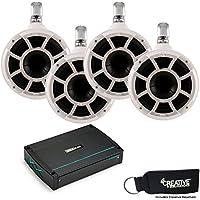 Wet Sounds Kicker 44KXMA12002 1200 Watt 2-Channel Amp & Two pairs of White REV8 Swivel clamp Waketower Speakers