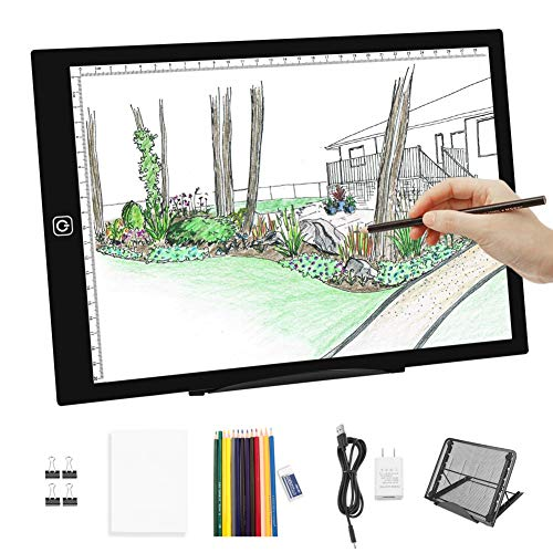 Diamond Painting A4 LED Light Pad-Dimmable Tracing Light Pad Board Tablet w Light Box Pad Stand,12pcs Colored Pencils and Adapter for Artists,Drawing, Sketching, Animation