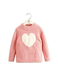 Love Girl Knit Sweater, Little Girl Everyday Dress, Soft and Comfortable Cartoon Love Pullover Suitable for 2T-14T Baby Girl