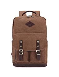 George and Charlotte Men's Vintage Canvas Shoulder Backpack Rucksack School Satchel Travel Laptop Bag Camping