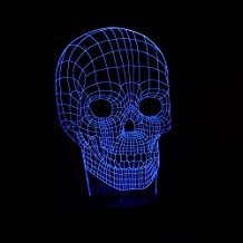 Creative LED 3D Skull Optical Illusion Decoration Lighting for Halloween Holiday Time, Perfect Night light for Kids,children, Stunning Decorative Desk Lamp mood lighting for Adult
