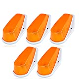 CCIYU 5 Pack Roof Cab Marker Clearance Light Clear Covers w/Base Housing For 1980-1997 Ford F150 F250 F350 F Super Duty pickup truck (amber)