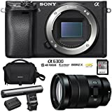 Sony Alpha a6300 ILCE-6300 4K Mirrorless APS-C Digital Camera with FE 55mm F1.8 SEL55F18Z Full Frame Prime Lens (Black) (18-105mm F4 OSS G Lens (SELP18105G) Kit)