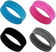 DragonFlyDreams Sweatband Headband for Women, 4 Pieces Sports Headbands Moisture Wicking Athletic Cotton Terry
