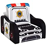 Qaba Kids Sofa Chair Police Car Shape Toddler Children Armchair Activity Couch with Storage Box Boys Girls Furniture