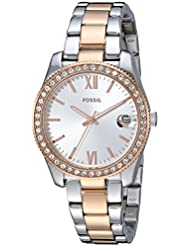Fossil Womens Scarlette Quartz Stainless Steel Casual Watch, Color:Rose Gold-Toned (Model: ES4372)