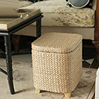 Hand Straw-weaving Storage stool Storage stool Environmental protection Solid wood Changing shoes stool Sofa stool Can sit. Chest and locker-B 302224CM
