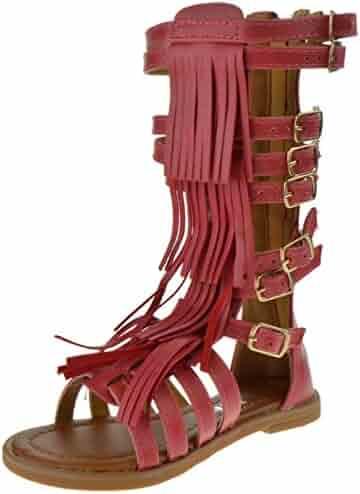 c20fefa82007 Link Savannah 3K Little Girls Strappy Buckled Fringe Gladiator Flat Sandals