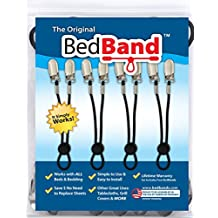 Bed Band-Blk Not Made in China. 100% USA Worker Assembled. Bed Sheet Holder, Gripper, Suspender and Strap. Smooth any Sheets on any Bed. Sleep Better. Patented.