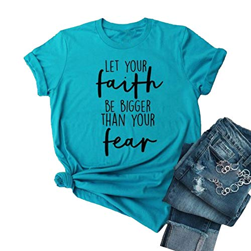 Sovelen Women's Graphic Tees Christian Faith Tshirts Letter Print Short Sleeve Casual Cute Summer Tops T Shirts Army Green