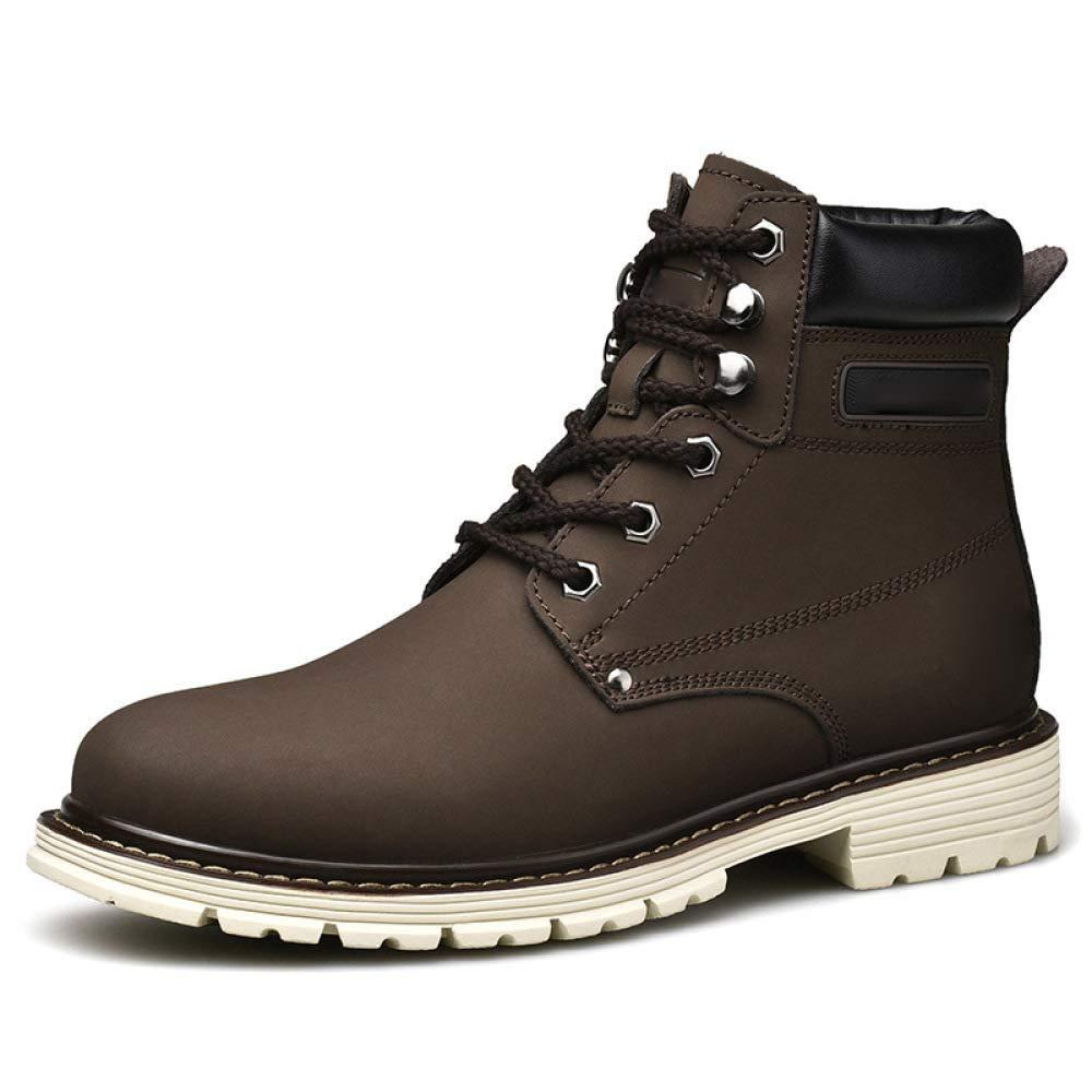 WANG-LONG Schuhe Herren Martin Und Stiefel Herbst Und Martin Winter Outdoor Wandern Leder Rutschfeste Mode High-Top,braun-40 81c1cd