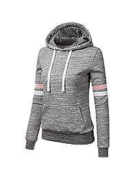 OCEAN-STORE Womens Hoodies Sweatshirt Shirts Patchwork Hooded Blouse Tops