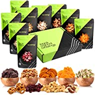 Gourmet Gift Basket, Fresh Nut & Dried Fruit Box (9 Pouches) - Healthy Food Edible Arrangement for Easter, Mothers & Fathers Day, Family Birthday Tray, Snack Platter for Women & Men - Prime Delivery