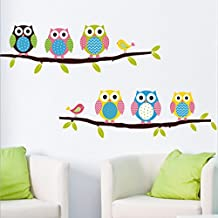 Lovely Owls Leaves Branchs Wall Decal Home Sticker Paper Removable Living Room Bedroom Art Picture DIY Mural Girls Boys kids Nursery Baby Playroom Decoration + Gift Colorful Butterflies