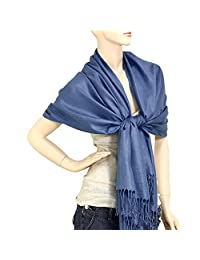 "Falari Women's Solid Color Pashmina Shawl Wrap Scarf 80"" X 27"" (Light Navy)"