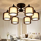 Creative American personality chandelier restaurant led living room chandelier bedroom ceiling lamp round modern minimalist lamps 6 light warm light