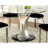 Furniture Of America Maiorga Round Glass Top Dining Table
