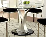 Contemporary Round Dining Table Furniture of America Maiorga Round Glass Top Dining Table