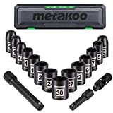 "1/2"" Impact Socket Set, METAKOO Drive Impact Socket Set, 17PCS Metric Shallow Impact Socket Set, 11mm - 30mm, Cr-V, 6-Point, 14pcs Sockets with 2pcs Extension Bars and Universal Joint - MISS06"