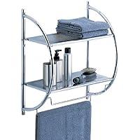 Organize It All Wall Mount 2 Tier Chrome Bathroom Shelf with Towel Bars