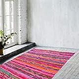 NAQSH Handmade Chindi Area Rug- Hand Woven Multicolor Recycled Cotton Reversible Chindi Rag Rug (4X6 Feet, Pink Chindi Runner