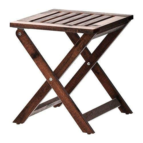 IKEA APPLARO - Taburete plegable para exteriores (color marron)