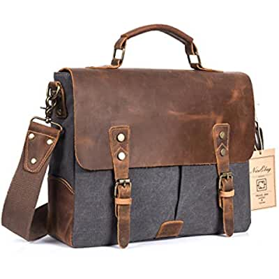 NiceEbag Leather Messenger Bag Vintage Canvas Laptop Shoulder Bag Men Briefcase Fits Up 15.6 Inch Laptop (Dark...