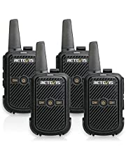 Retevis RT15 Walkie Talkie Rechargeable FRS 16 Channel Lock VOX Hands-free 2 Way Radio Long Range for Adults (Black, 4 Pack)