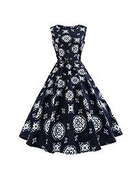 Elfremore Sleeveless Dress Floral Print Slim Waist Swing Dress with Belt